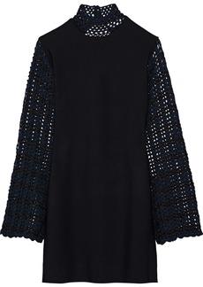 Opening Ceremony Woman Open-back Crochet-paneled Stretch-knit Mini Dress Black