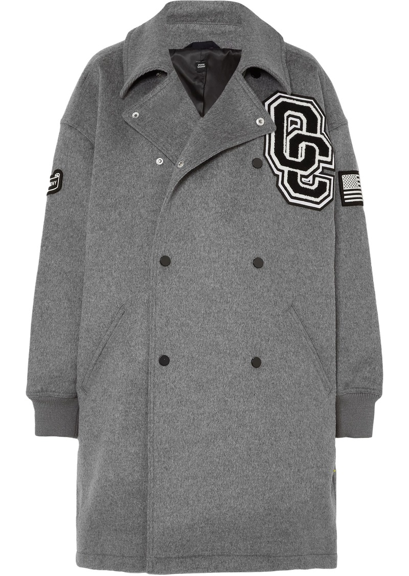 Opening Ceremony Woman Oversized Double-breasted Appliquéd Wool-blend Felt Coat Gray