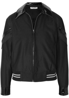 Opening Ceremony Woman Patchwork Vinyl-trimmed Mesh And Crepe Bomber Jacket Black