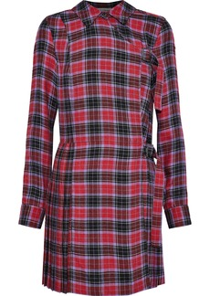 Opening Ceremony Woman Pleated Checked Flannel Mini Dress Crimson