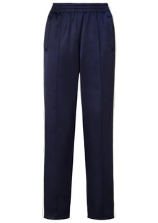 Opening Ceremony Woman Reversible Striped Satin-shell Track Pants Navy