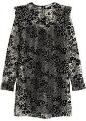 Opening Ceremony Woman Ruffle-trimmed Flocked Glittered Mesh Mini Dress Black