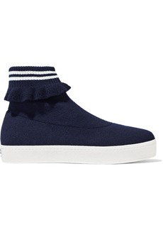 Opening Ceremony Woman Ruffle-trimmed Stretch-knit Platform High-top Sneakers Navy