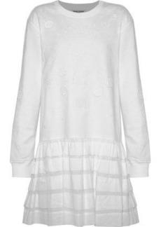 Opening Ceremony Woman Ruffled Gauze-paneled Embroidered Cotton-terry Mini Dress White