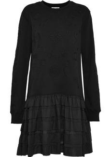 Opening Ceremony Woman Ruffled Gauze-paneled Embroidered Cotton-terry Mini Dress Black