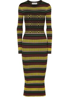 Opening Ceremony Woman Striped Ribbed-knit Midi Dress Black