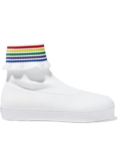 Opening Ceremony Woman Striped Stretch-knit High-top Sneakers White