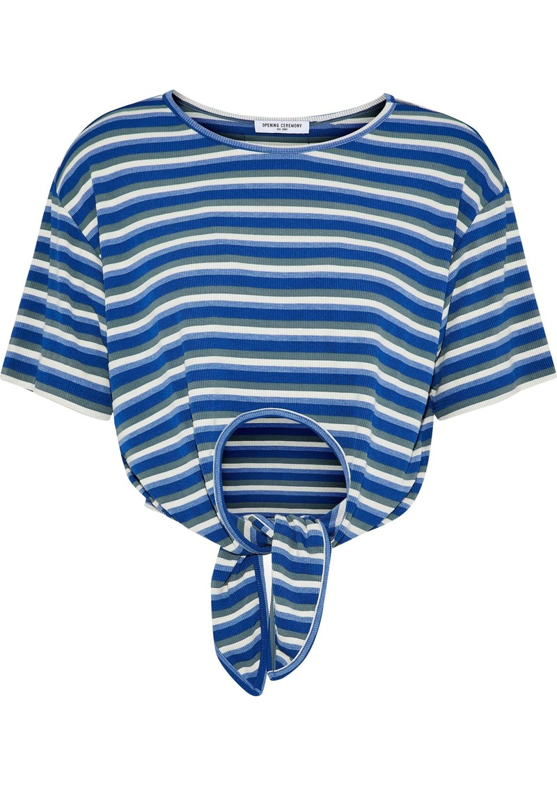 Opening Ceremony Woman Tie-front Striped Ribbed Jersey T-shirt Blue