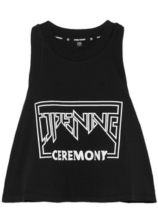Opening Ceremony Woman Torch Cropped Printed Cotton-jersey Tank Black