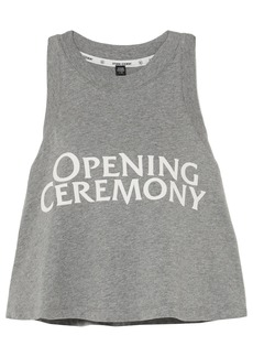 Opening Ceremony Woman Torch Cropped Printed Cotton-jersey Tank Gray
