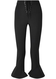 Opening Ceremony Woman William Cropped Lace-up Stretch-cady Bootcut Pants Black