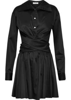 Opening Ceremony Woman Wrap-effect Cotton-blend Sateen Mini Dress Black