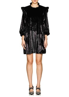 Opening Ceremony Women's Metallic-Striped Velvet Ruffled Dress