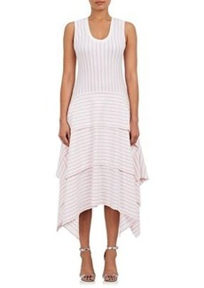 Opening Ceremony Women's Pinstriped Cotton Jersey Tiered Dress