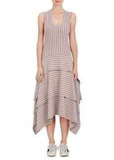 Opening Ceremony Women's Pinstriped Stretch-Cotton Jersey Tiered Dress