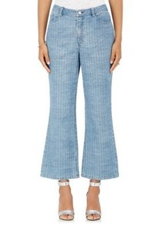Opening Ceremony Women's Striped Flared Crop Jeans