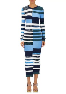 Opening Ceremony Women's Striped Knit Fitted Maxi Dress