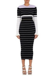 Opening Ceremony Women's Striped Rib-Knit Cotton Maxi Dress