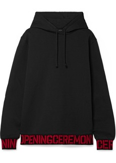 Opening Ceremony Oversized Intarsia-trimmed Cotton-jersey Hoodie
