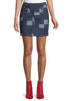 Opening Ceremony Patched Tab Straight Denim Skirt