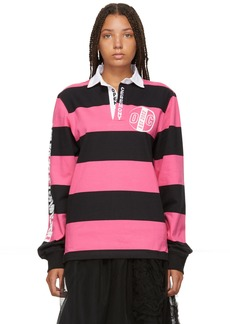Opening Ceremony Pink & Black Striped Rugby Long Sleeve Polo