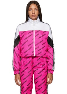 Opening Ceremony Pink & White Cropped Warm Up Jacket