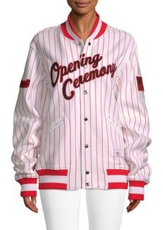 Opening Ceremony Pinstriped Cotton Varsity Jacket