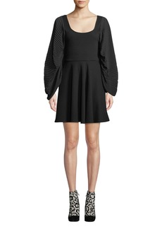 Opening Ceremony Plisse Full-Sleeve Fit-and-Flare Short Dress