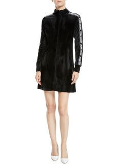 Opening Ceremony Plush Velour Logo Long-Sleeve Track Dress
