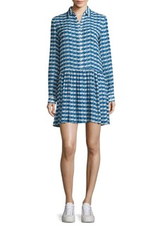 Opening Ceremony Printed Drop-Waist Silk Shirtdress