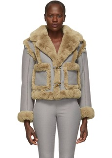 Opening Ceremony Reversible Navy & Brown Fur Insomnia Jacket