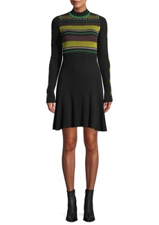 Opening Ceremony Ribbed Long-Sleeve Striped Flare Dress