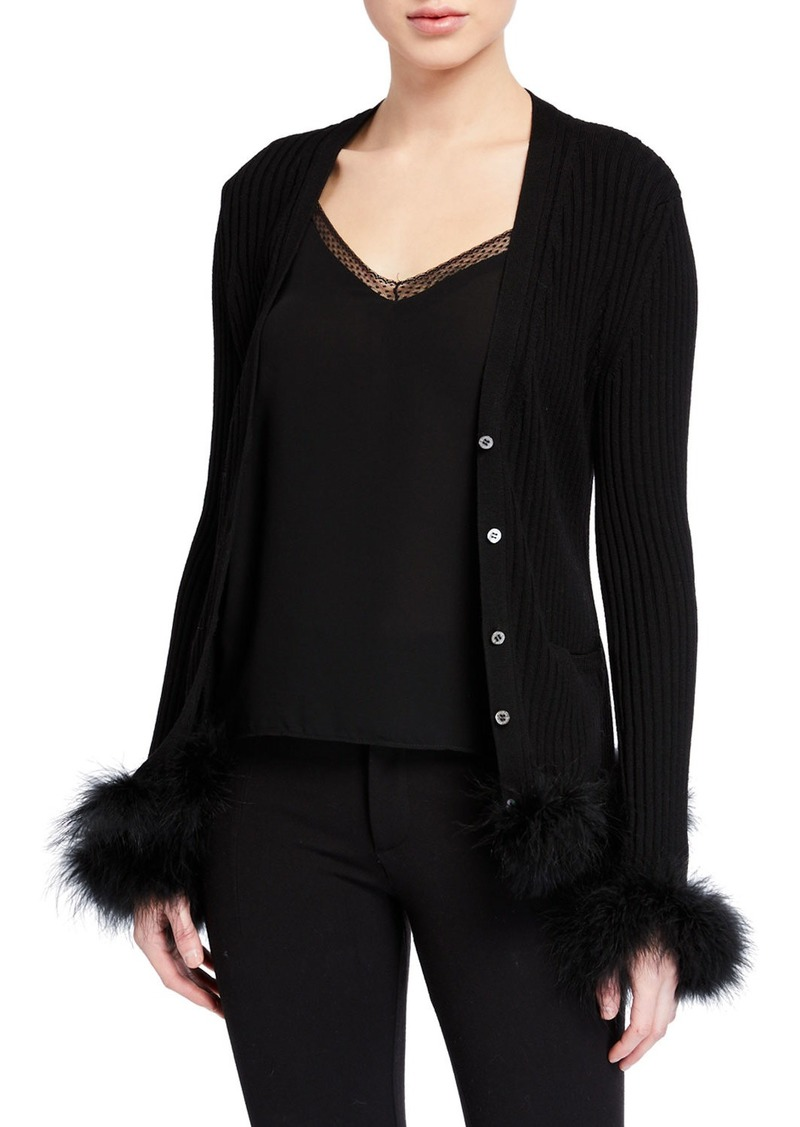 Opening Ceremony Ribbed Wool Cardigan w/ Feather Trim