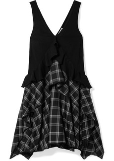 Opening Ceremony Ruffled cotton-paneled plaid brushed-twill mini dress