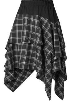 Opening Ceremony Ruffled Cotton-paneled Plaid Brushed-twill Skirt