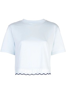 Opening Ceremony scallop elastic logo cropped T-shirt