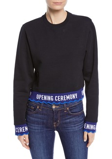 Opening Ceremony Scalloped Logo Cropped Pullover Sweatshirt