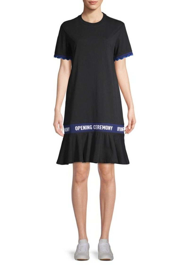 Opening Ceremony Scalloped Logo-Tape Cotton T-Shirt Dress