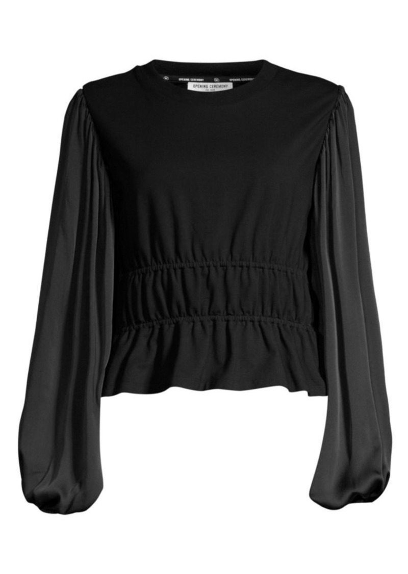 Opening Ceremony Silk-Sleeve Cotton Top