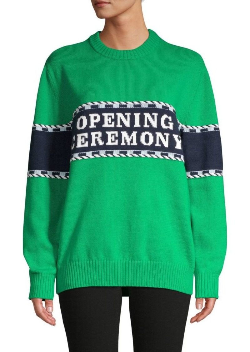 Opening Ceremony Striped Cotton-Blend Sweater