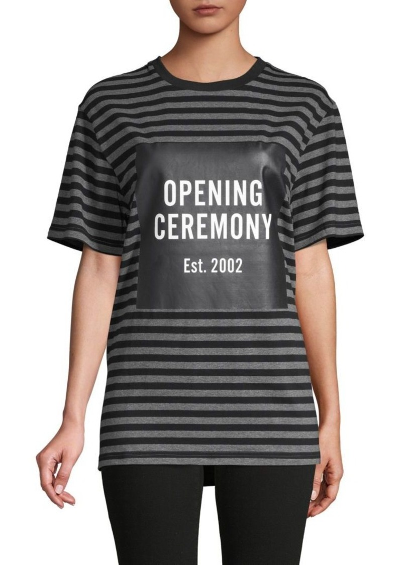 Opening Ceremony Striped Logo Stretch-Cotton Tee