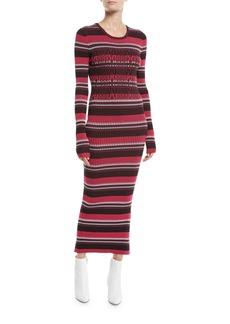 Opening Ceremony Striped Rib-Knit Long-Sleeve Midi Dress