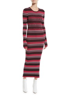 Opening Ceremony Striped Rib-Knit Long-Sleeve Midi Dress