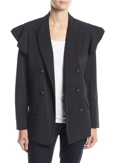 Opening Ceremony Tailored Double-Breasted Ruffle Blazer