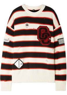Opening Ceremony Varsity Appliquéd Distressed Striped Cotton-blend Sweater