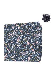 Original Penguin Arby Botanical Pocket Square & Lapel Pin Set