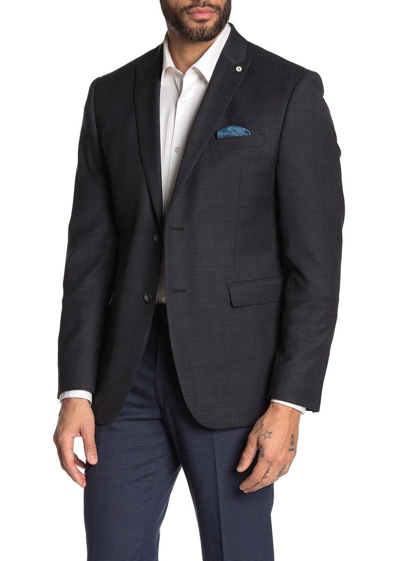 Original Penguin Birdseye Charcoal Two Button Peak Lapel Suit Separates Blazer