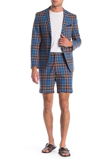 Original Penguin Blue Plaid Two Button Notch Lapel Skinny Fit Suit