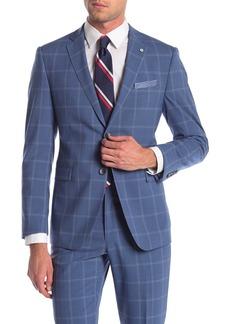 Original Penguin Blue Plaid Two Button Notch Lapel Slim Fit Suit Separates Sport Coat