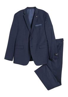 Original Penguin Blue Solid Two Button Notch Lapel Suit